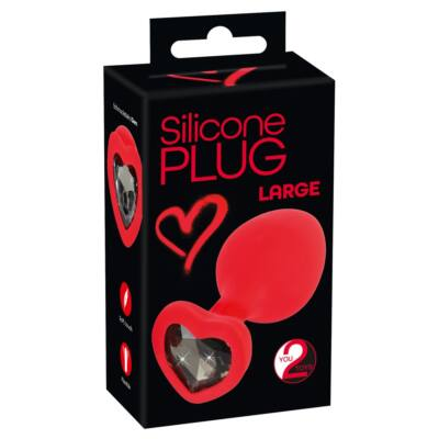 You2Toys Plug Large - black stone, please anal dildo (red) - large