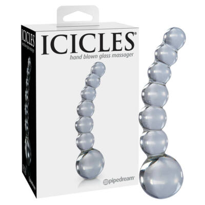 Icicles No. 66 - curved, spherical, glass dildo (transparent)