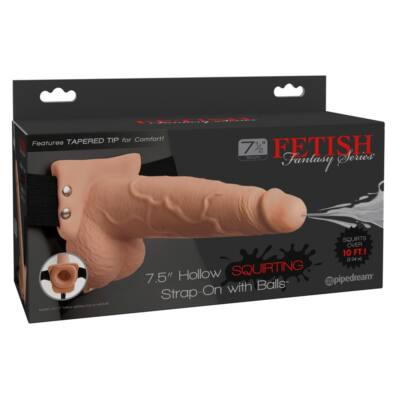 Fetish Strap-On 7.5 - attachable, hollow, squirting dildo (natural)