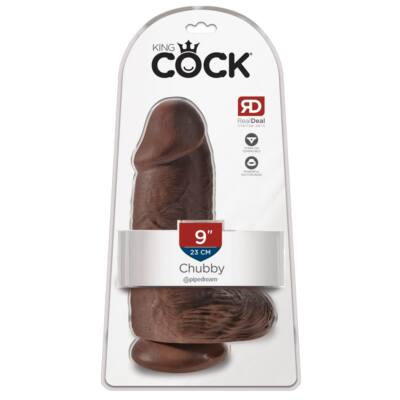 King Cock 9 - adhesive sole, testicle dildo (23cm) - brown