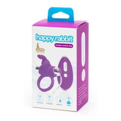 Happyrabbit - Cordless Radio Penis Ring (Purple-Silver)