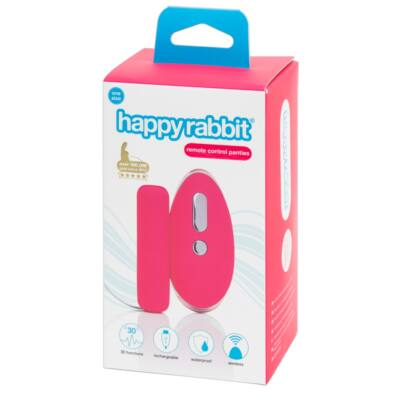 Happyrabbit One Size - Cordless Radio Vibration Panties with Rabbit Tail (Pink-Black)