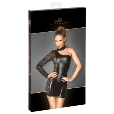 Noir - mid-lingerie, shiny mini dress (black)