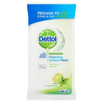 Dettol - antibacterial surface cleaning cloth (36pcs) - lime-mentha