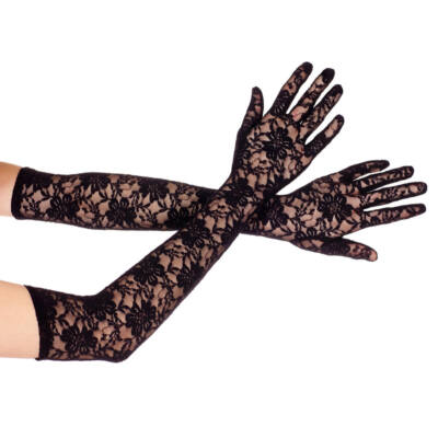 Extra long lace gloves BLACK
